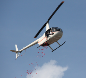 Flower Dropping By Helicopter
